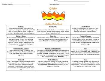 October Intermediate Spelling Choice Board