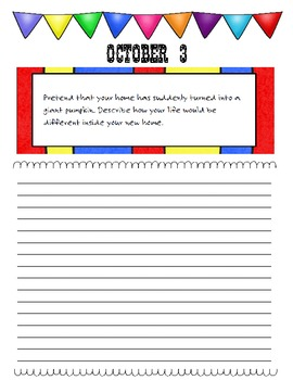 October Journal Prompts Printable Notebook Common Core W.1, W.2, W.3