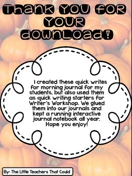 October Journal Quick Writes