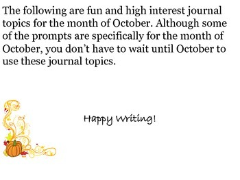 October Journal Writing Booklet