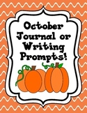 October Journal and Writing Prompts (Kindergarten)