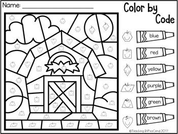 October Kindergarten Color By Code