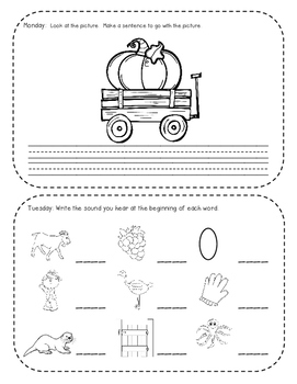 October Kindergarten Common Core Homework Packet