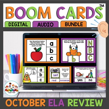 October Kindergarten ELA Boom Cards