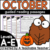 October Kindergarten Guided Reading Passages and Questions Levels A-E