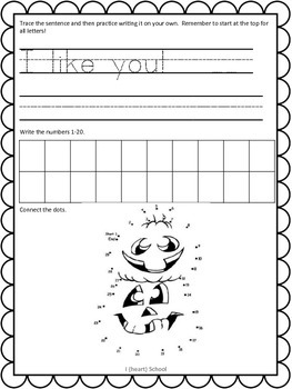 October Kindergarten Homework