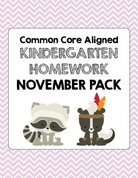 November Common Core Kindergarten Homework