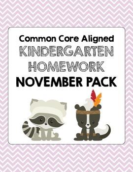 November Common Core Kindergarten Homework