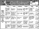 October Kindergarten Homework Calendar *Common Core Aligned*
