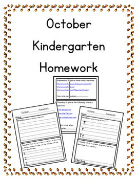 October Kindergarten Homework-editable-all subjects-differ