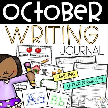 October Kindergarten Letter Formation w/ Beginning Sounds Writing Journal Pack