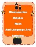 October Kindergarten Math and Language Arts Activities