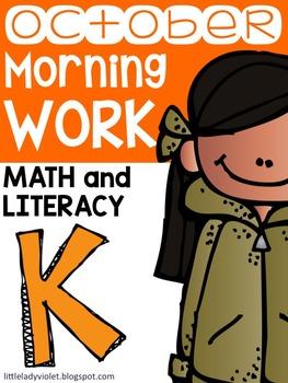 October Kindergarten Morning Work Math and Literacy