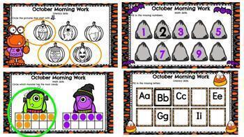 October Kindergarten Morning Work for Google Classroom or Google Slides
