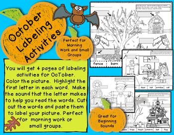 October Beginning Sounds Labeling Morning Work