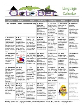October Language Calendar