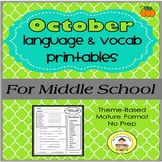 October Language and Vocabulary Printables for Middle School Speech Therapy