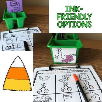 October Learning Hunt - Write the Room- I Spy ELA/Math Centers