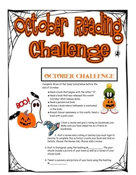 October Library Reading Activity Challenge