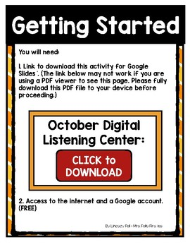 October Listening Center GOOGLE CLASSROOM EDITION