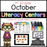 October Literacy Centers 1st Grade (Google Slides and Seesaw)