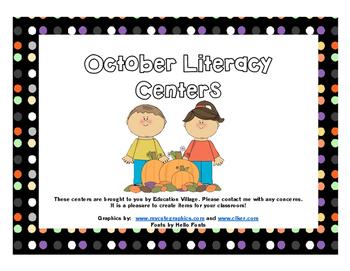 October Literacy Centers Sampler