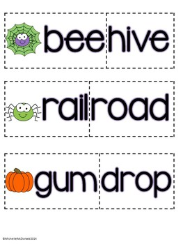 October Literacy Centers: compound words, syllables, rhyming
