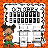 [16] October Literacy Stations {Columbus, Halloween, Bats, & Fire Safety}