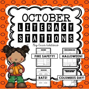 [16] October Literacy Stations {Columbus, Halloween, Bats,