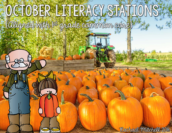 October Literacy Stations for First Grade- Aligned with Co