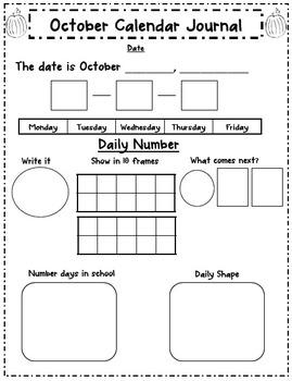 October Literacy and Calendar Journals