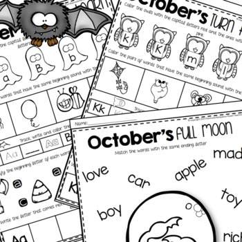 October Literacy and Math for Kindergarten {Month to Month Centers}