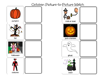 October Match-Picture and Word Match
