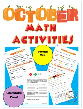 October Math Activities for K, 1, and 2