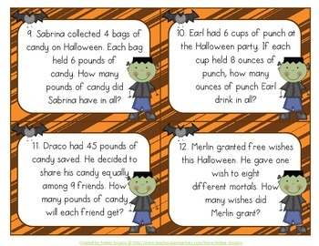 October Math Activities for Math Workshop or Math Centers