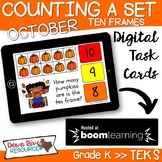 October Math Boom Cards | Ten Frames Kindergarten TEKS