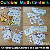 October Math Centers Halloween Themed Games and Worksheets