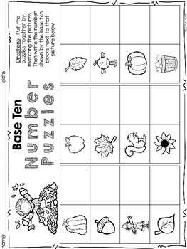 October Math Centers and Printables