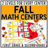 Fall Differentiated Math Centers for 1st & 2nd Grade