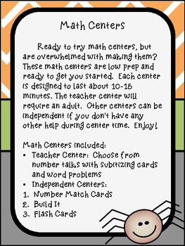 October Math Centers for 1st grade