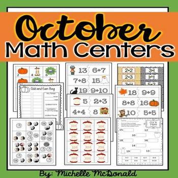 October Math Centers: odd/even, graphing, addition, equivalent expressions,money