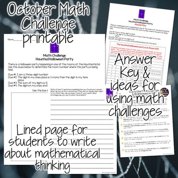 October Math Challenge - FREE Halloween Math Fast Finisher, Center, Homework
