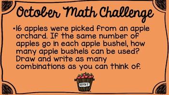 October Math Challenge Set of 10