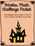 October Math Challenge Strips Set of 10