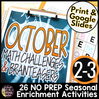 October Math Challenges & Brainteasers-Halloween Fast Finishers,Centers,Homework