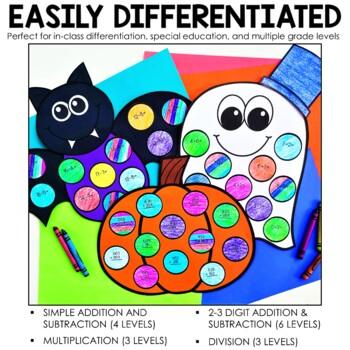 October Math Crafts (Differentiated) + Bonus Bat Craft!