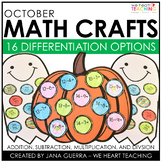 October Math Crafts (Differentiated): Pumpkin, Ghost, and Bat Halloween Activity