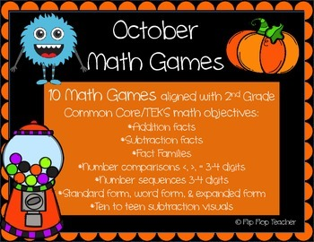 October Math Games - Math Facts and Place Value