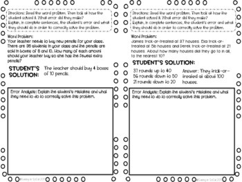 October Math Journal Error Analysis and Problem Solving