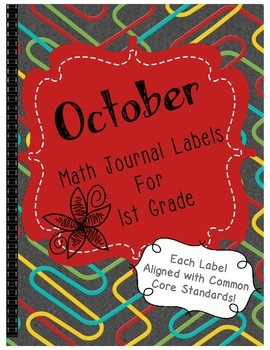 October Math Journal Labels ~ CCSS Aligned
